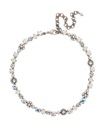 Classic Crystal Floral Necklace in Antique Silver-tone White Bridal
