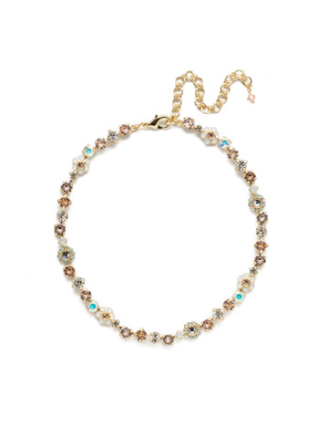 Classic Crystal Floral Necklace in Bright Gold-tone Silky Clouds