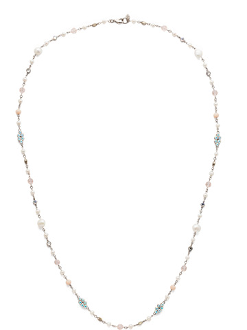 Lilliana Long Strand Necklace in Antique Silver-tone Silky Clouds