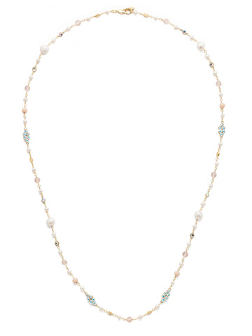 Lilliana Long Strand Necklace in Bright Gold-tone Silky Clouds