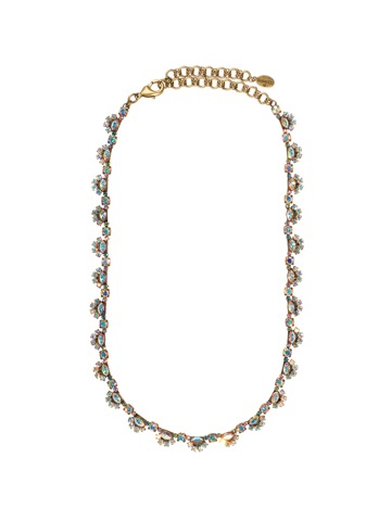Scalloped Design Crystal Necklace in Antique Gold-tone Smitten