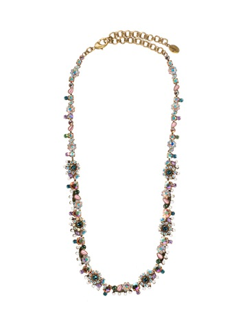 Crystal Flower Necklace with Pearl Accents in Antique Gold-tone Smitten