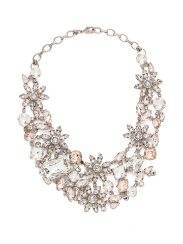 Floral Collar Statement Necklace in Antique Silver-tone Soft Petal