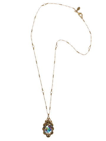 Crystal Bold Vintage Style Pendant Necklace in Antique Gold-tone Smitten
