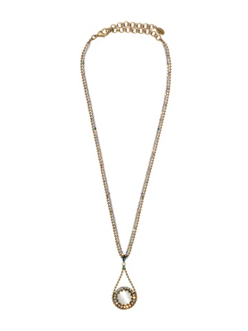 Crystal Pendant Drop Necklace in Antique Gold-tone Smitten