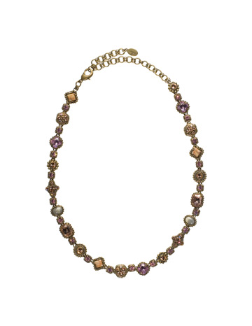 Ornamental Crystal and Cabochon Necklace in Antique Gold-tone Rosy Cheeks