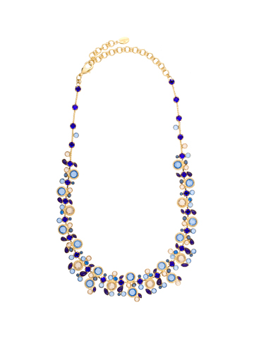 Beautiful Bubble Necklace with Faceted Chanel Crystals and Opaque Stone Accents in Bright Gold-tone Lapis