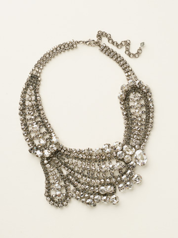 Crystal Paisley Statement Necklace in Antique Silver-tone Crystal Rock