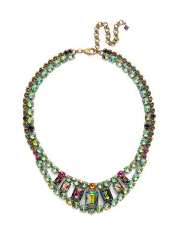 Crystal Double Row Octagon Necklace in Antique Gold-tone Volcano