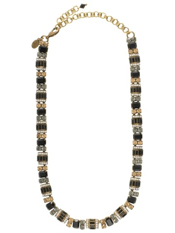 Detailed Baguette and Octagon Crystal Line Necklace in Antique Gold-tone Evening Moon