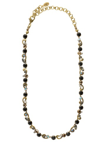Classic Scroll Work Necklace Accented with Crystals in Antique Gold-tone Evening Moon