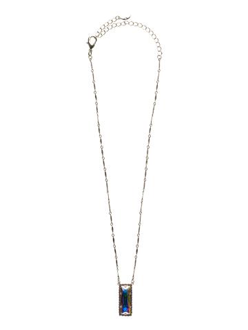 Shimmering Crystal Baguette Necklace in Antique Silver-tone Violet Eyes