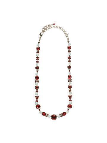 Classic Clover Necklace in Antique Silver-tone Crimson Pride