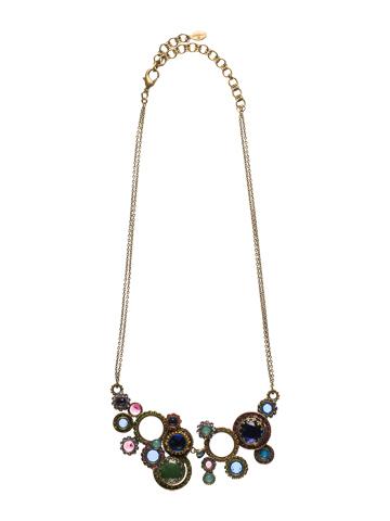 Multi Circle Bib Necklace in Antique Gold-tone Wild Meadow