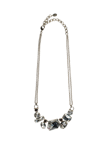 Modern Facets Bold Crystal Bib Necklace in Antique Silver-tone Snow Bunny
