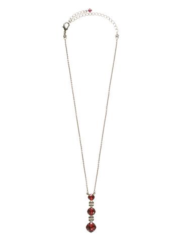 Three-Tiered Drop Crystal Pendant in Antique Silver-tone Crimson Pride