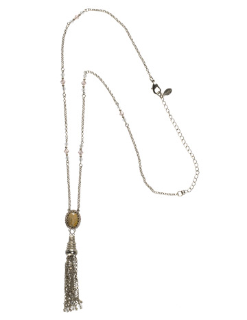 Antique-Inspired Tassel Pendant in Antique Silver-tone Snow Bunny