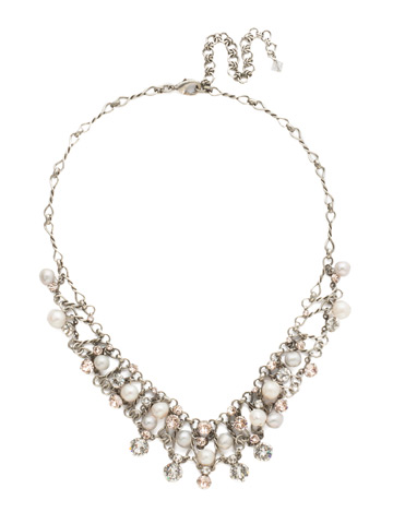 Clustered Crystal and Bead Necklace in Antique Silver-tone Snow Bunny