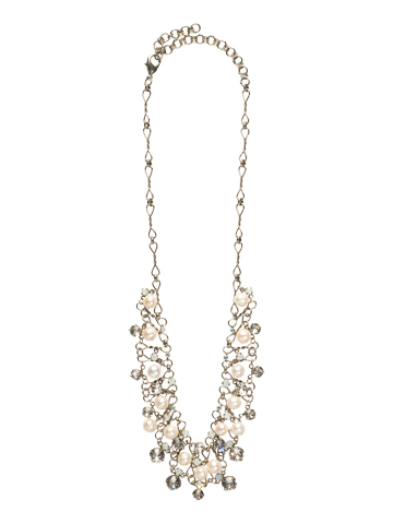 Clustered Crystal and Bead Necklace in Antique Silver-tone White Bridal