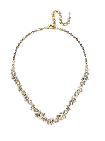Glittering Multi-Cut Crystal Necklace in Antique Gold-tone Crystal