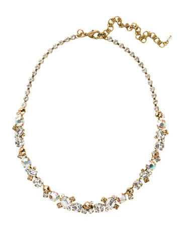 Glittering Multi-Cut Crystal Necklace in Antique Gold-tone Neutral Territory