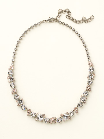 Glittering Multi-Cut Crystal Necklace in Antique Silver-tone Crystal Clear