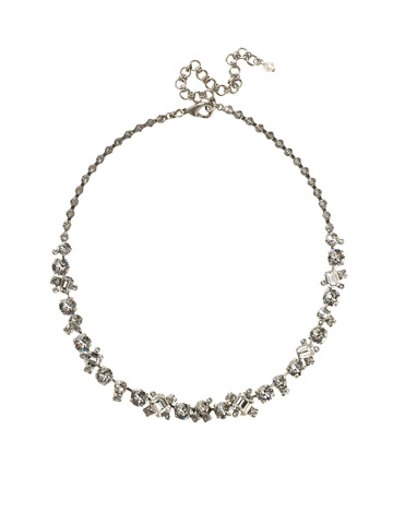 Glittering Multi-Cut Crystal Necklace in Antique Silver-tone Crystal