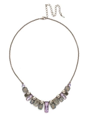 Regal Rectangles Necklace in Antique Silver-tone Purple Lotus