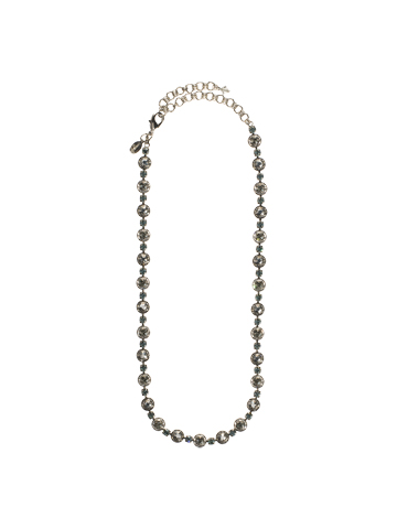 Delicate Crystal Necklace in Antique Silver-tone Pewter