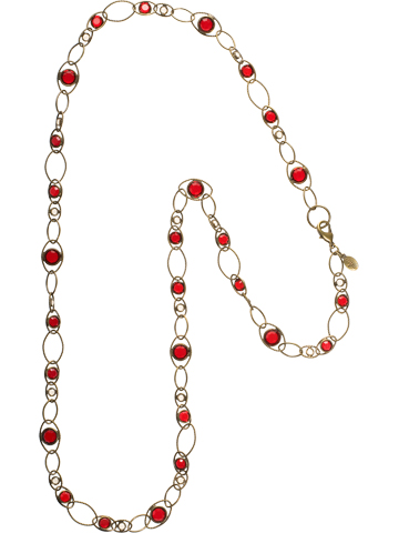 Crystal and Chain Linked Long Strand Necklace in Antique Gold-tone Go Garnet