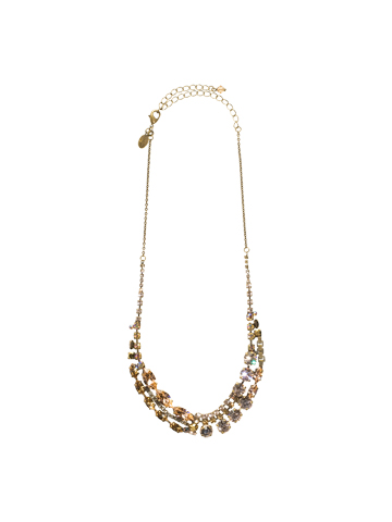 Modern Crystal Line Necklace in Antique Gold-tone Raw Sugar