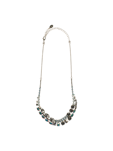 Modern Crystal Line Necklace in Antique Silver-tone White Bridal