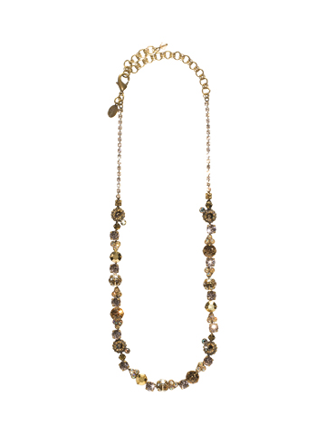 Clustered Circular Crystal Necklace in Antique Gold-tone Raw Sugar