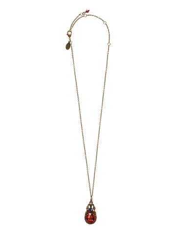 Double Loop Crystal Pendant Necklace in Antique Gold-tone Lipstick