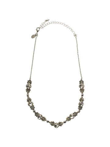 Crystal Petal Necklace in Antique Silver-tone Pewter