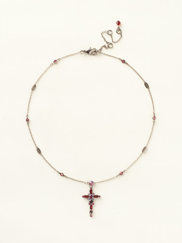Delicate Cross Pendant Necklace in Antique Silver-tone Pink Ruby