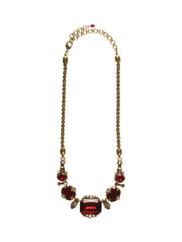Holiday 2017 One-of-a-Kind Necklace in Antique Gold-tone Go Garnet