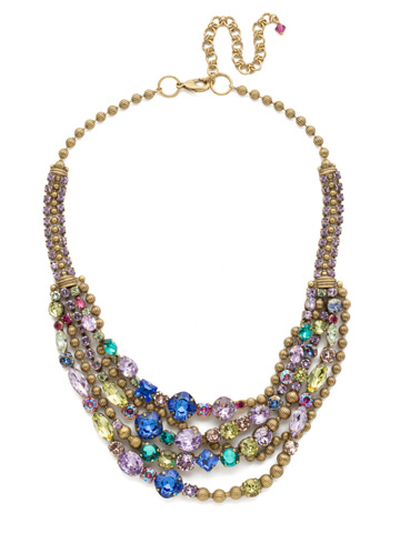 Red Carpet Layering Necklace in Antique Gold-tone Wildflower