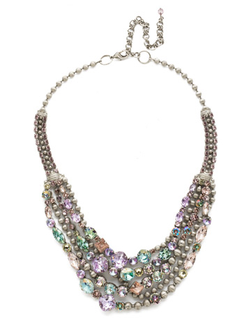 Red Carpet Layering Necklace in Antique Silver-tone Lilac Pastel