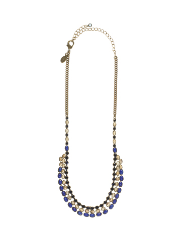 Sugary Sweet Necklace in Antique Gold-tone Blue Jean Dream