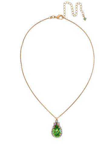 Sweet Sparkle Necklace in Antique Gold-tone Green Apple