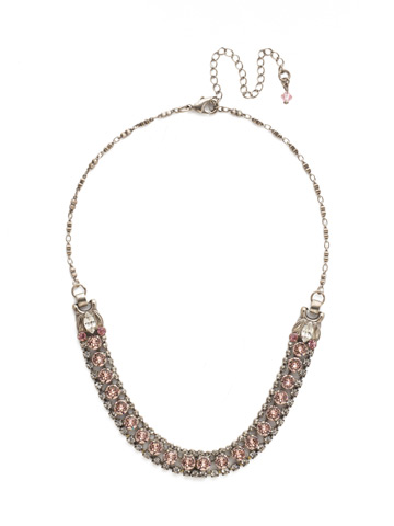 Right on Track Necklace in Antique Silver-tone Crystal Rose