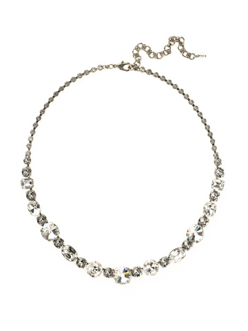 Graduated Classic Necklace in Antique Silver-tone Crystal