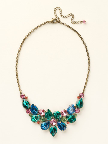 Dare To Pear Crystal Bib Necklace in Antique Gold-tone Happy Birthday