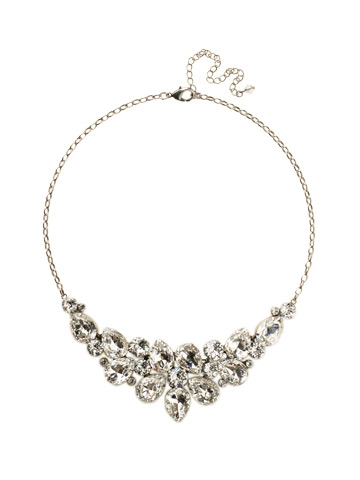 Dare To Pear Crystal Bib Necklace in Antique Silver-tone Crystal