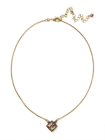Perfectly Pointed Pendant Necklace in Antique Gold-tone Volcano