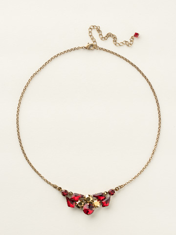 Geometry Classic Necklace in Antique Gold-tone Go Garnet