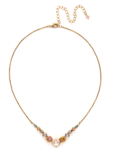 Delicate Round Crystal Necklace in Antique Gold-tone Apricot Agate