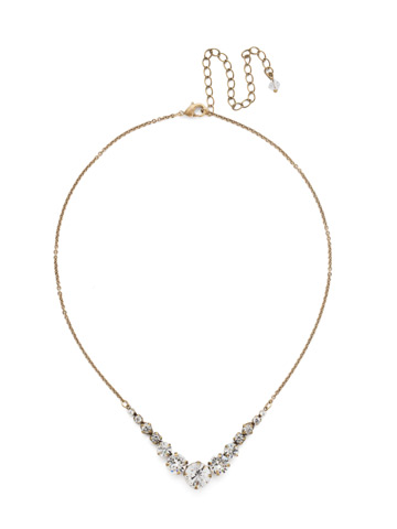 Delicate Round Crystal Necklace in Antique Gold-tone Crystal