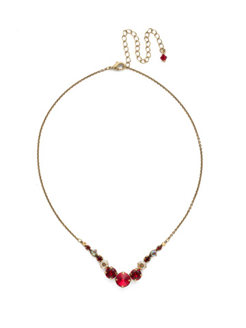Delicate Round Crystal Necklace in Antique Gold-tone Go Garnet